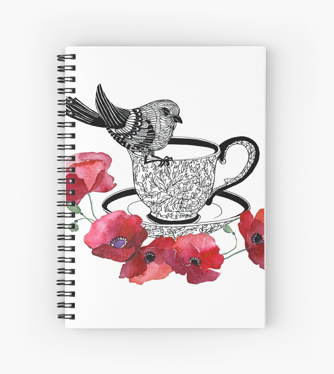 Little Bird with Poppies in Tea Cup by torysevas