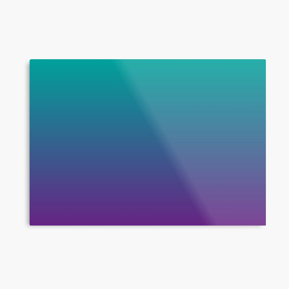 Ombre | Gradient Colors | Teal and Purple |  Metal Print