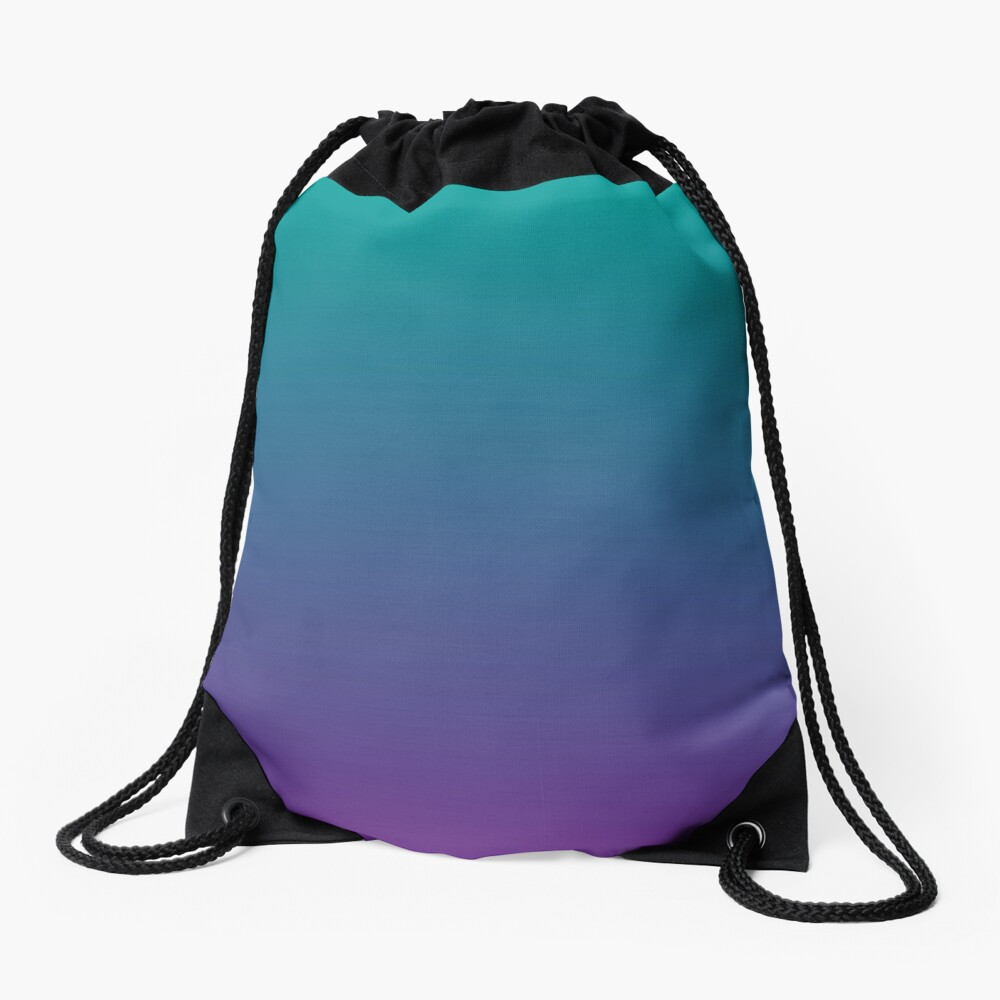 Ombre | Gradient Colors | Teal and Purple |  Drawstring Bag