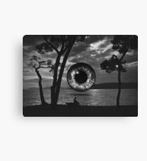 Dusk landscape with a boat, woman, and eye Canvas Print