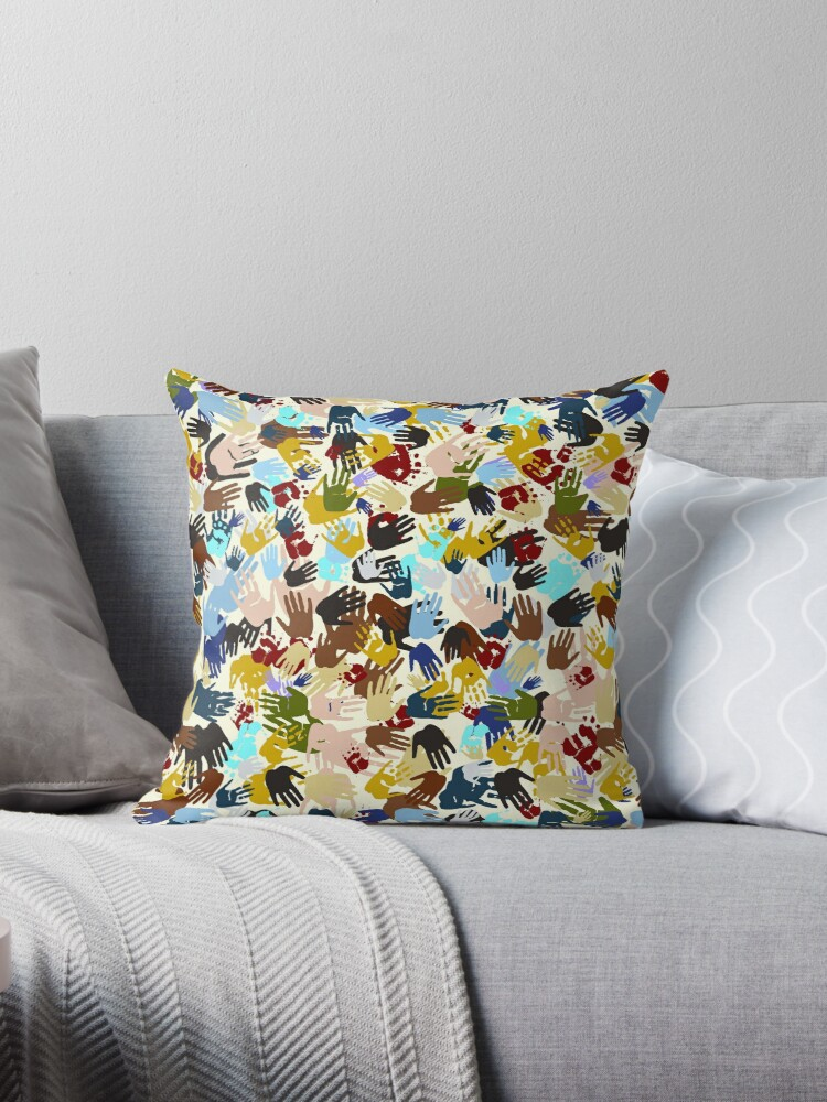 Quot Diversity Handprints Quot Throw Pillows By Gravityx9 Redbubble
