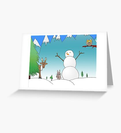 Snowman With His Wildlife Friends Greeting Card