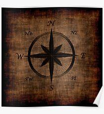 Nostalgic Old Compass Rose Design Poster