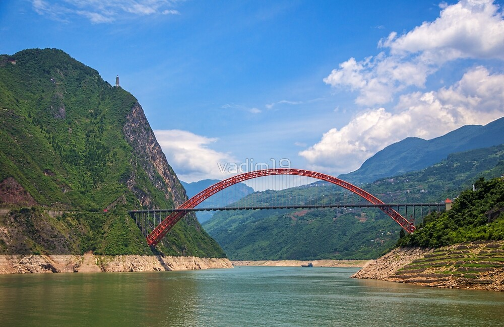 China. Yangtze River Cruise. Red Bridge. by vadim19