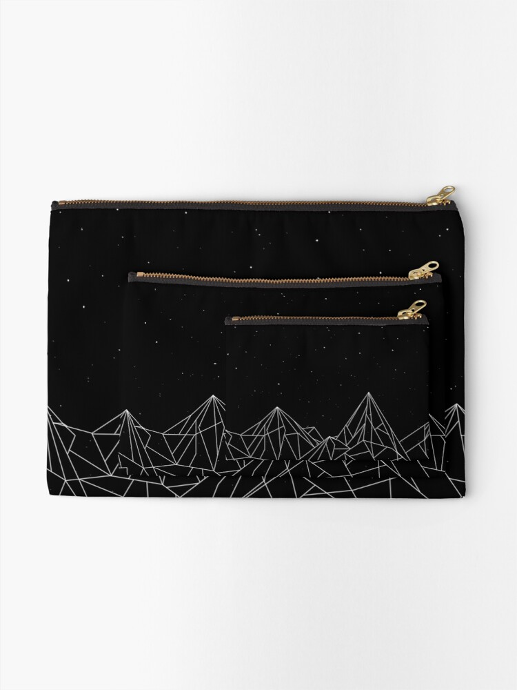 Alternate view of Night Court Mountains - Black (OLD VERSION) Zipper Pouch