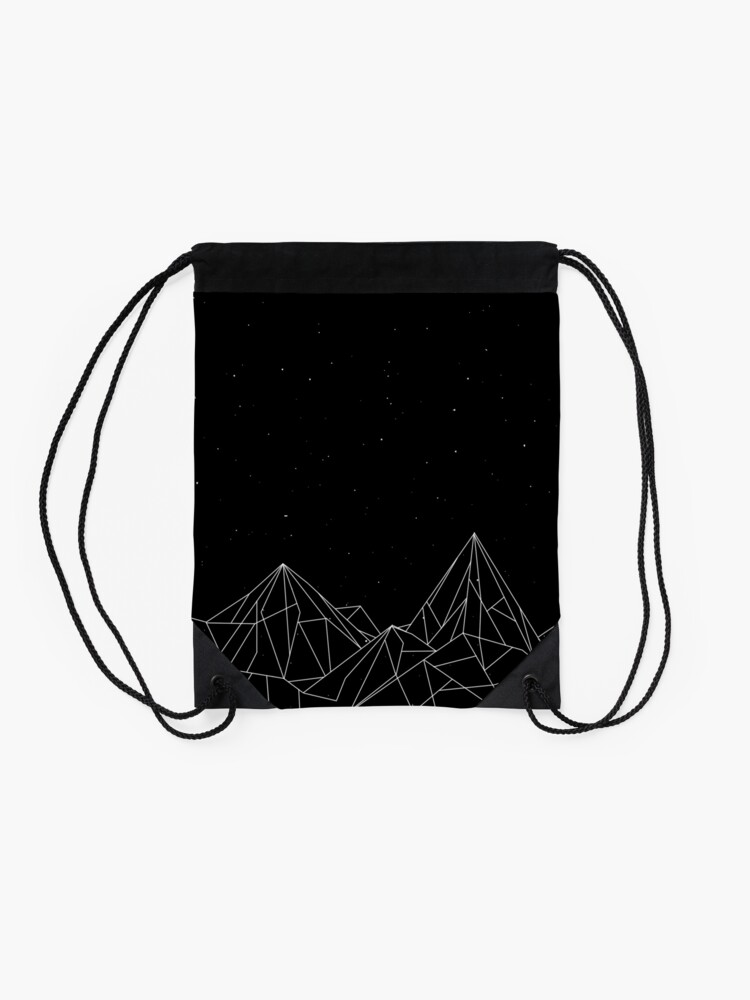 Alternate view of Night Court Mountains - Black (OLD VERSION) Drawstring Bag