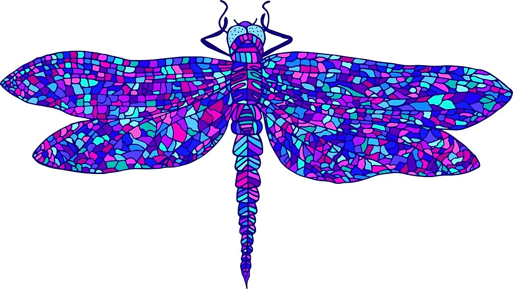 Decorative, beautiful, graceful dragonfly, psychedelic style, multicolor cartoon insect by Kioto