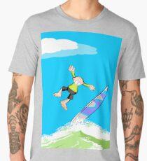 Surfer loses balance and takes a leap Men's Premium T-Shirt