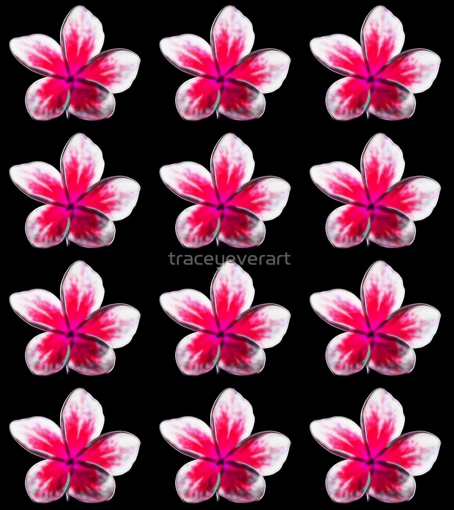 Pink and White Frangipani Flower repeating pattern by traceyeverart