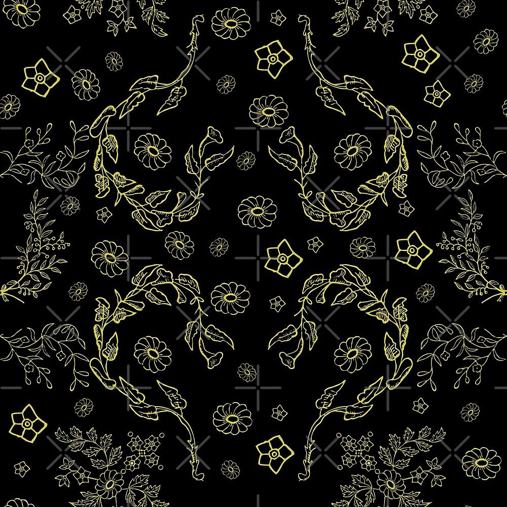 vintage golden floral by B0red