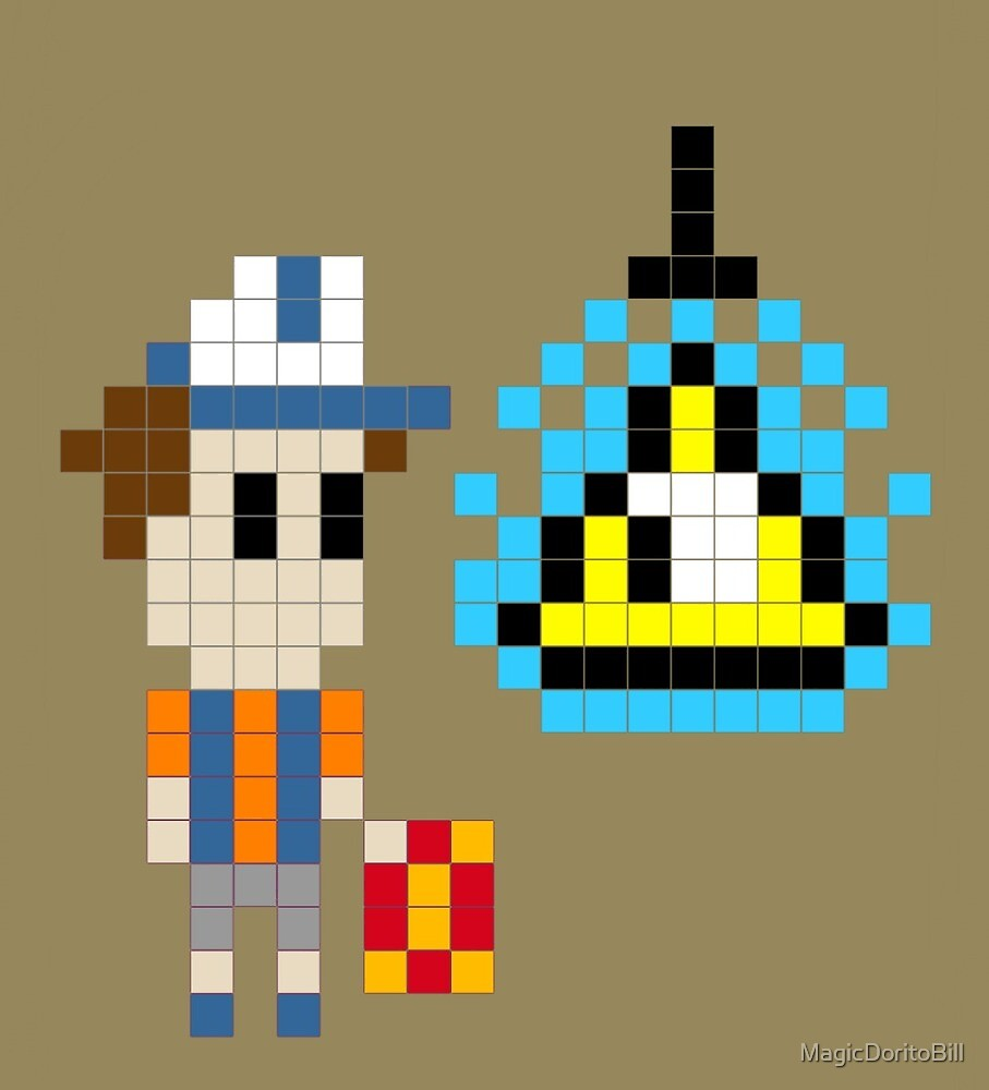 Bill Cipher and Dipper Pines : Pixelated Pals by MagicDoritoBill