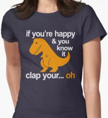 T-Rex clap your hands Women's Fitted T-Shirt