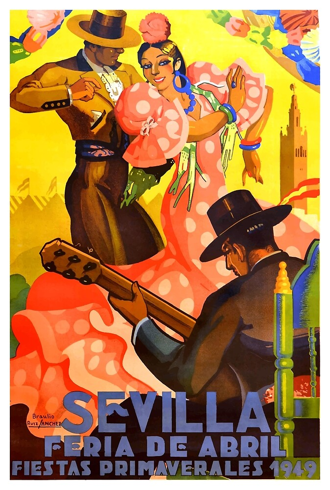 Spain 1949 Seville April Fair Poster by retrographics