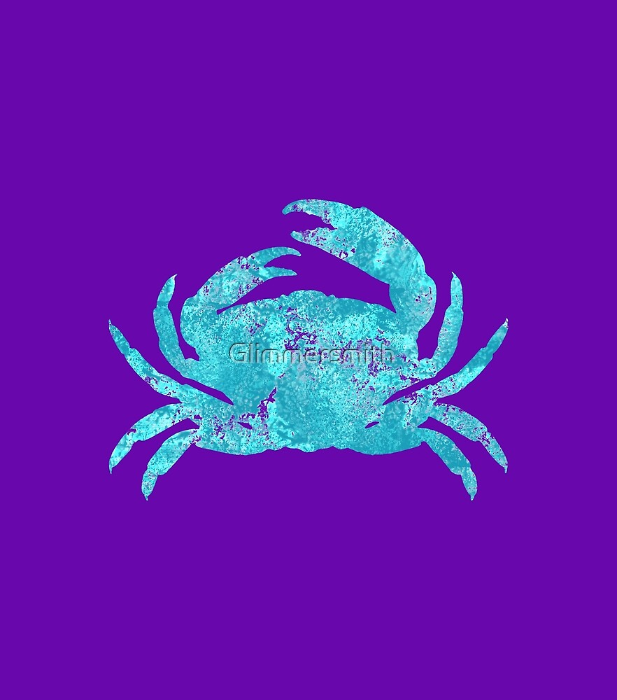 Turquoise Blue Crab Beach House Coastal Art by Glimmersmith