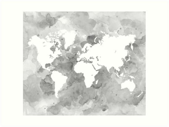Design 49 world map grayscale art prints by artbylucie redbubble design 49 world map grayscale by artbylucie gumiabroncs Image collections