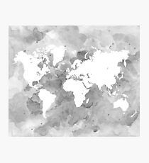Design 49 World Map grayscale Photographic Print