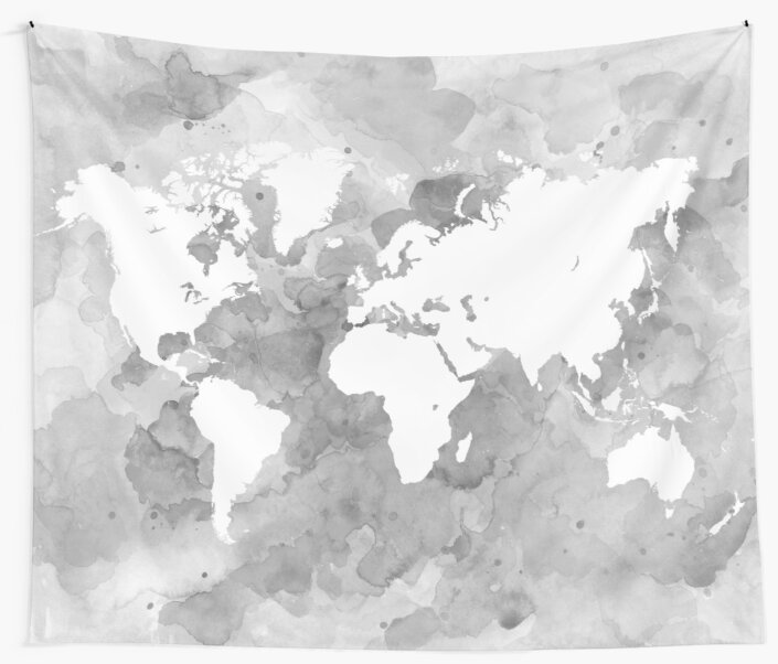 Design 49 world map grayscale wall tapestries by artbylucie redbubble design 49 world map grayscale by artbylucie gumiabroncs Gallery