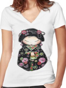Little Green Teapot for colour  Women's Fitted V-Neck T-Shirt