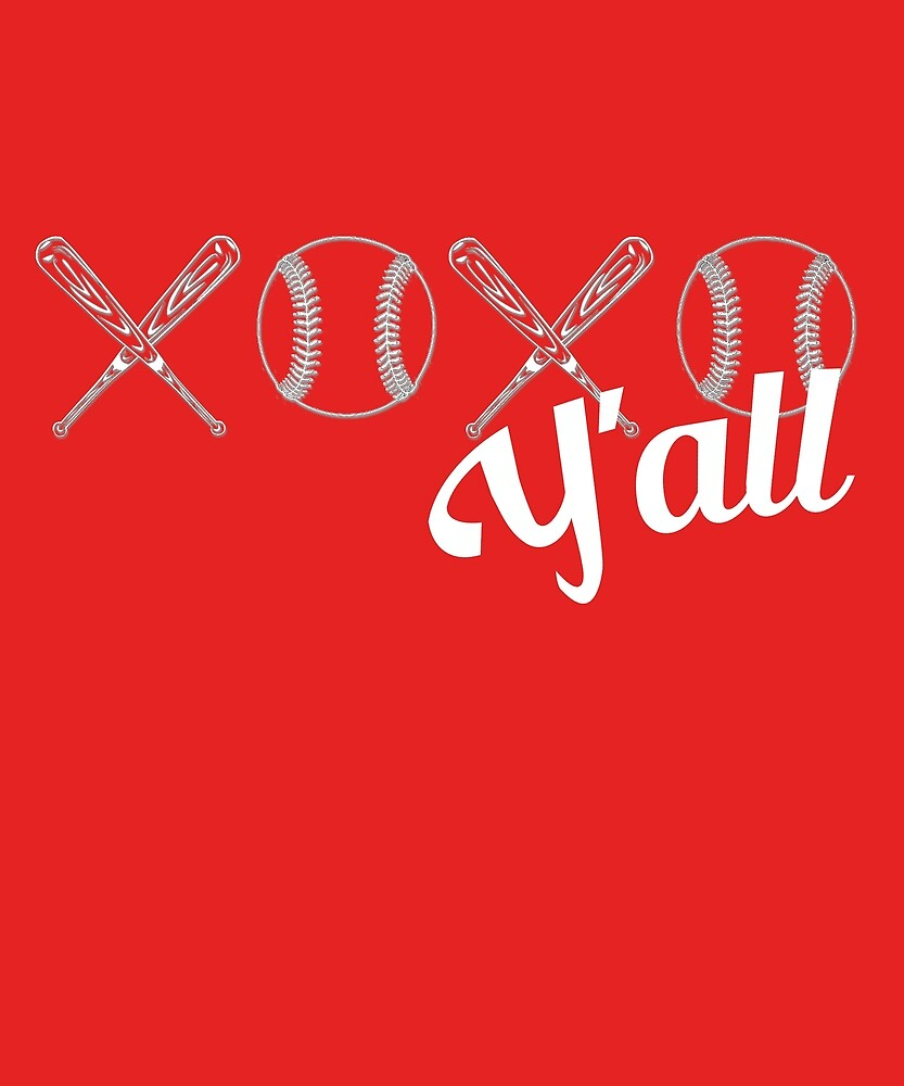 XOXO I love Baseball Y'all Softball Bat Ball Design by amtsales