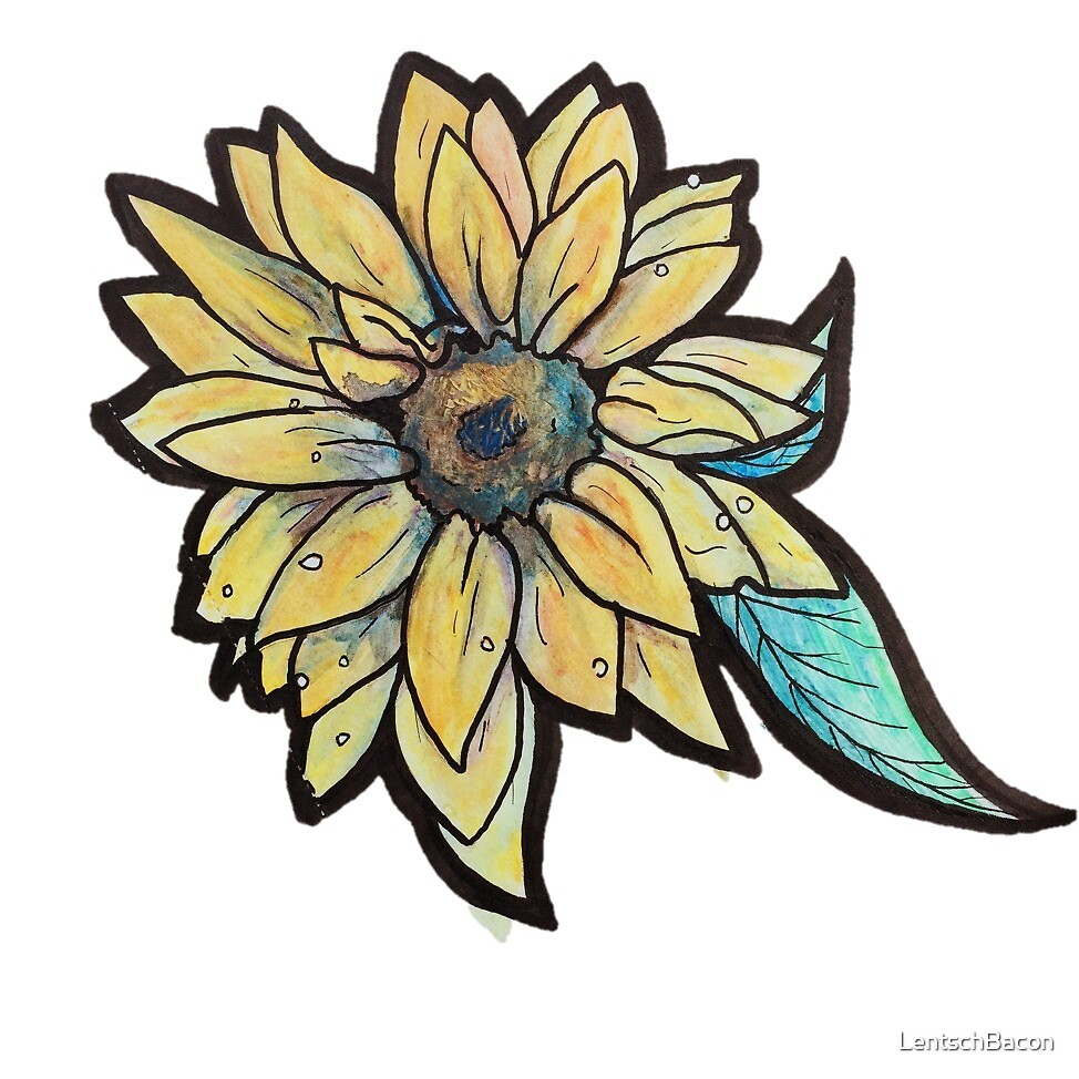 Sunflower Watercolor by LentschBacon