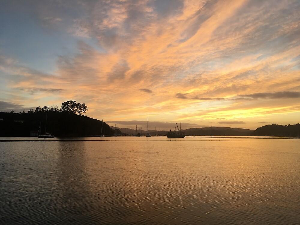 Sunrise bay of Islands by hasfeetwillwalk