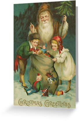 Vintage Santa Claus Image Greeting Card and Postcard by critterville