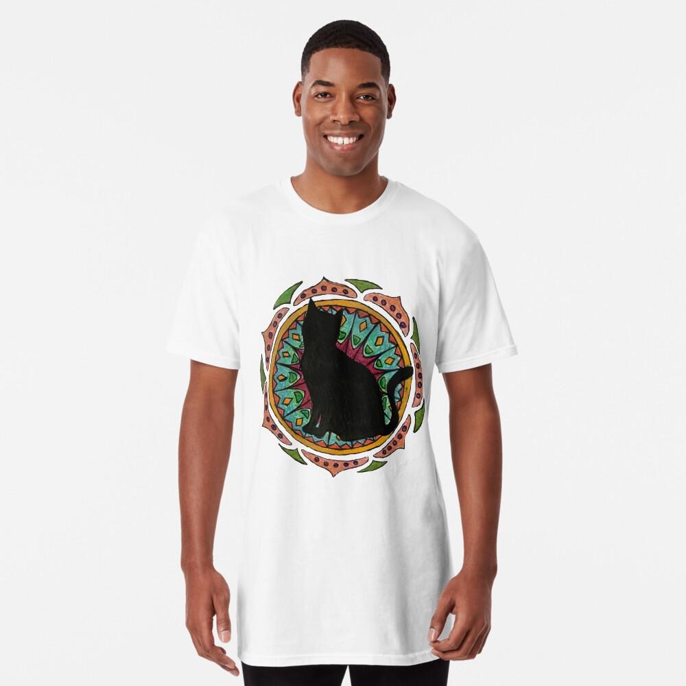 Black Cat Mandala Camiseta larga