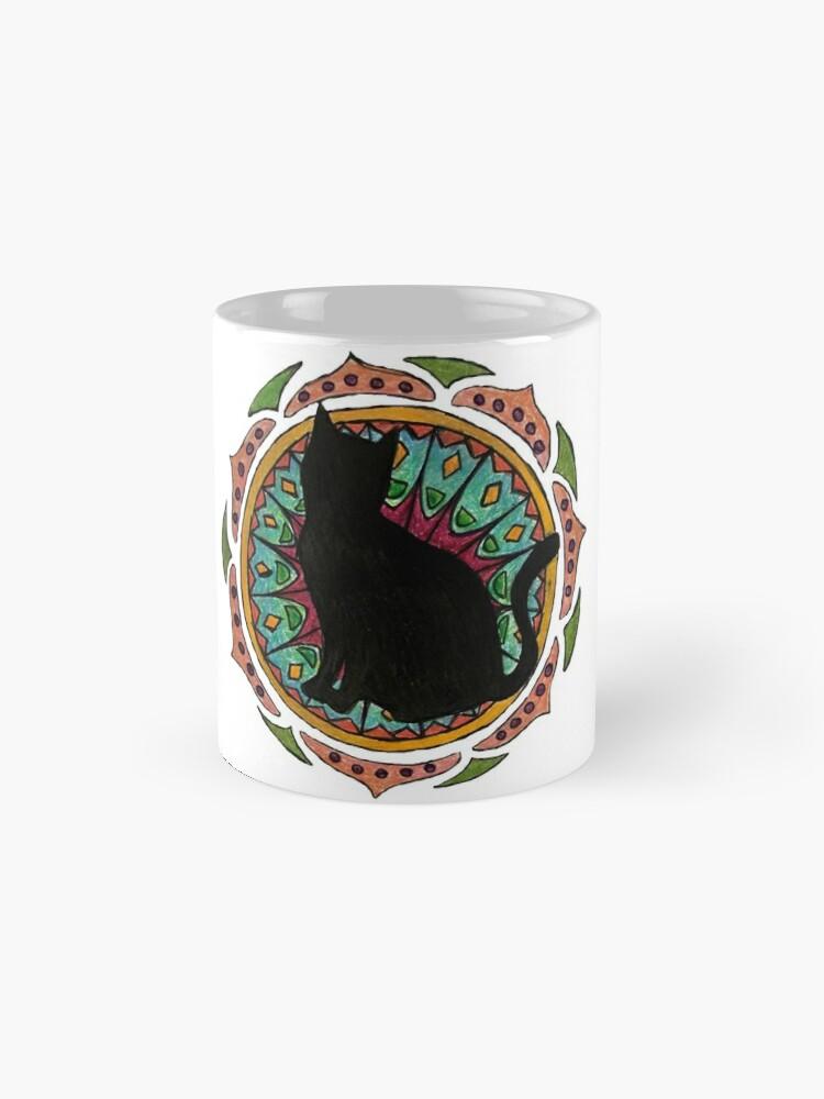 Vista alternativa de Taza estándar Black Cat Mandala