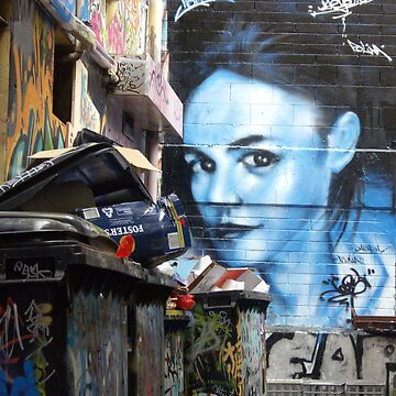 Blue girl in a sea of rubbish by nattyb