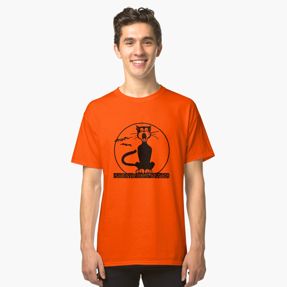 Black Cat and Moon  Classic T-Shirt Front