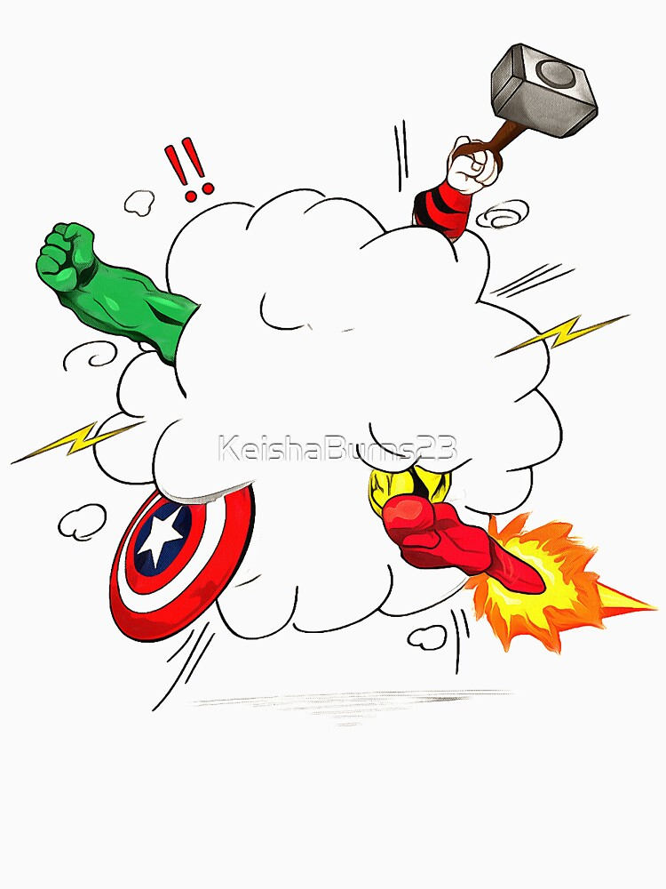 superheroes fight by KeishaBurns23