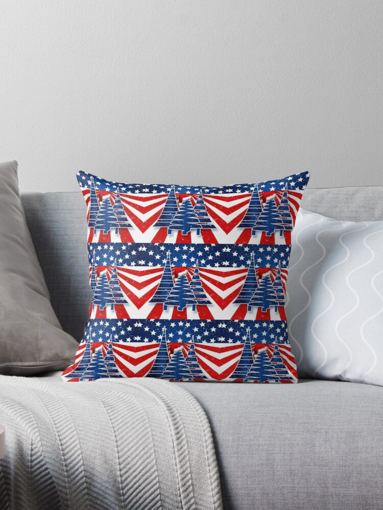 Patriotic Holiday Trees with Red White and Blue by Doreen Erhardt
