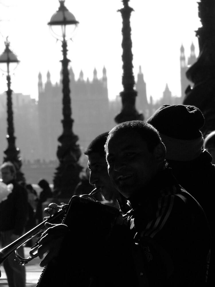 Musicians in shadow by Jo Byrne