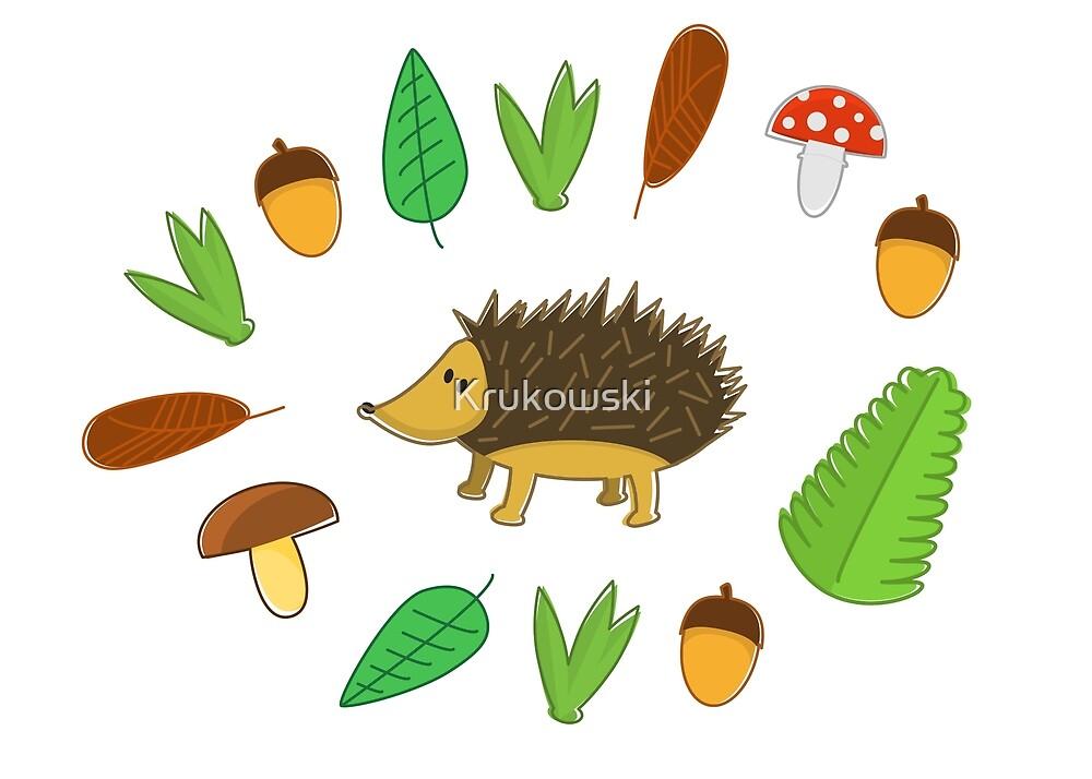 Cute Hedgehog Autumn Pattern by Krukowski