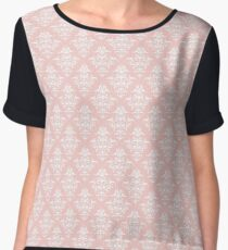 Damask Pattern | Rose Quartz and White | Pantone Color of the Year 2016 Women's Chiffon Top