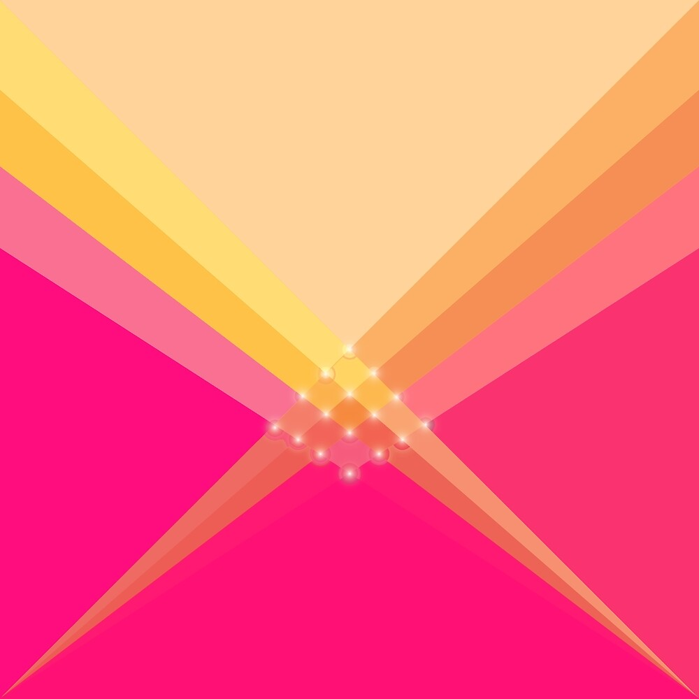 Pink and Gold Diagonal V Shape by Elaine Plesser