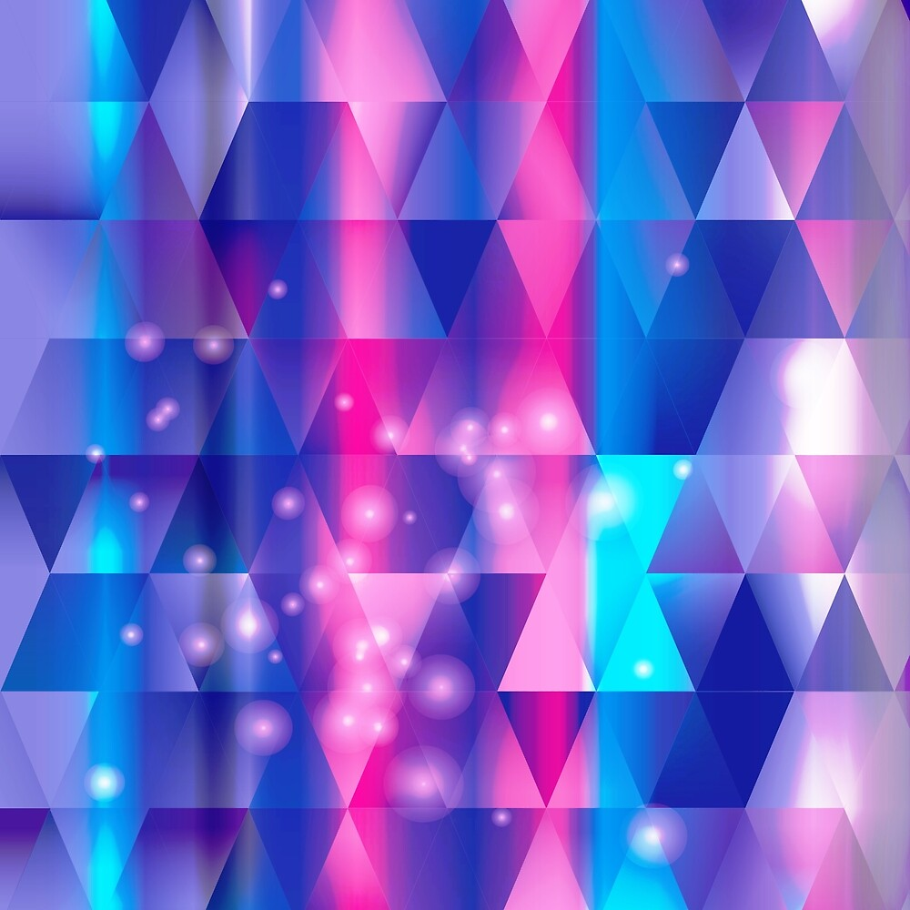 Blue Pink and Purple Mosaic Geometric Cosmic Pieces by Elaine Plesser