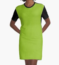 Lime Green | Solid Color Graphic T-Shirt Dress