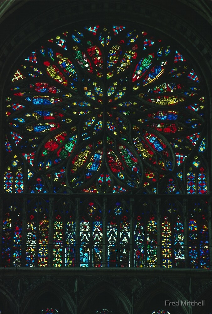 C15 S Rose Window Cathedral Amiens France 19840821 0012  by Fred Mitchell