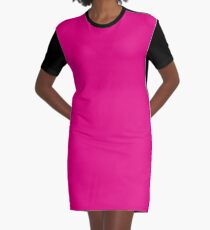Hot Pink | Solid Color Graphic T-Shirt Dress