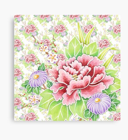 Kimono Bouquet Ditsy Chintz Canvas Print