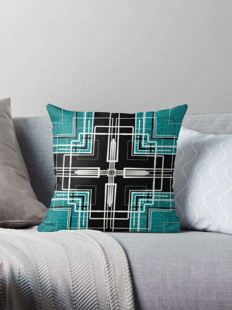 Teal and Black Lines Abstract  by Sheila Wenzel Ganny