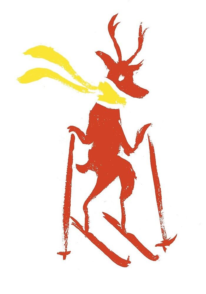 Reindeer on Skiis by RAJillustration