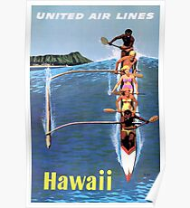 1953 United Airlines Hawaii Travel Poster Poster