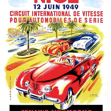 1949 Nice France Circuit Automobile Race Poster by retrographics