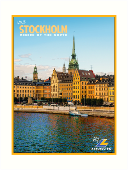 Vintage Stockholm Travel Poster by Eric Hwang