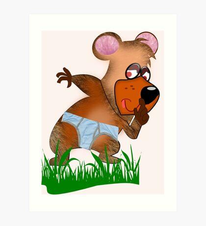 Shh.. Bear Has News! (Playing Dress UP)   (5935  Views ) Art Print