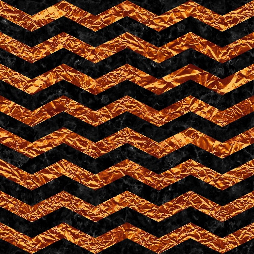 CHEVRON3 BLACK MARBLE & COPPER FOIL by johnhunternance