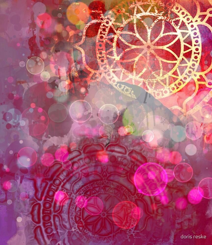 red mandala with bubbles by doris reske