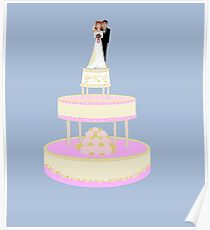 A Wedding Cake with Bride and Groom Poster